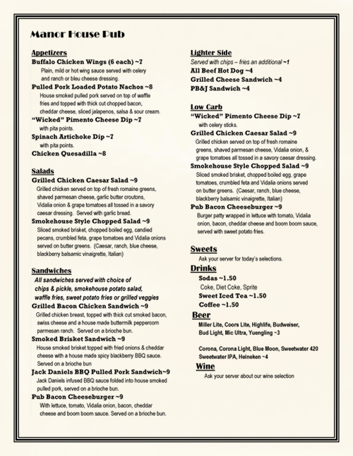 Manor House: Local Pub Menu Thumb Preview